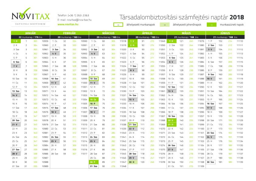 2019 es naptár nyomtatható Letölthető, nyomtatható 2018 as TB naptár   Novitax   Ügyviteli és  2019 es naptár nyomtatható