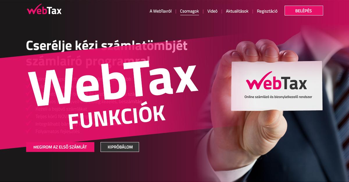webtax funkciok fb